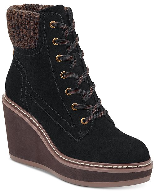 ba77f7117cd3 Tommy Hilfiger Solenne Lace-Up Platform Wedge Booties   Reviews ...