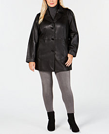 Anne Klein Plus Size Notch-Collar Leather Coat