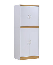 4-Door Kitchen Pantry with 4-Shelves, 5-Compartments