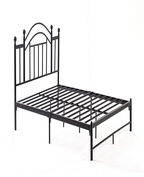 Hodedah Complete Platform Full-Size Bed with Headboard, Slats and Rails