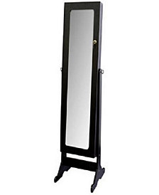 Tall Standing Mirror with Jewelry Storage in Black