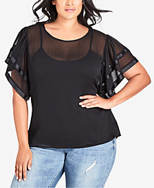 City Chic Trendy Plus Size Sheer Illusion Top