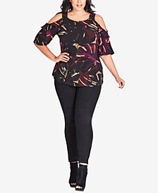 City Chic Trendy Plus Size Printed Cold-Shoulder Top
