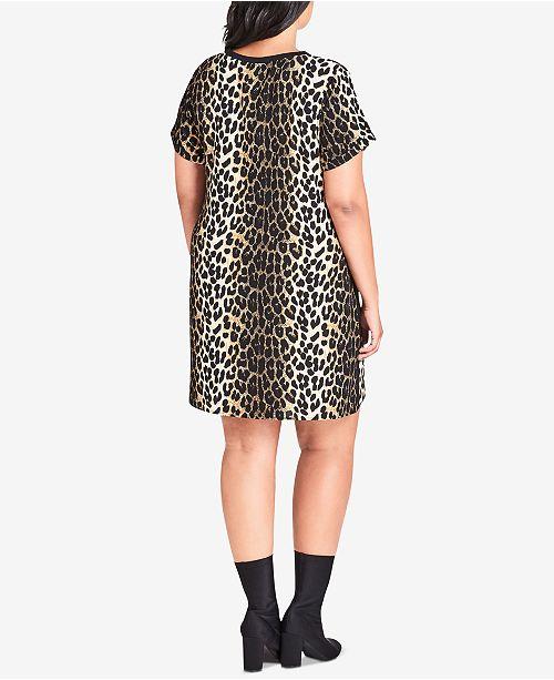 City Chic Trendy Plus Size Animal Print Tunic Dress Dresses Plus