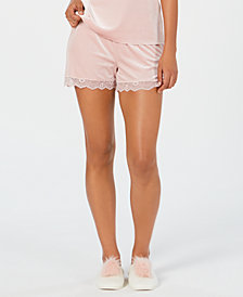 I.N.C. Lace-Trim Velvet Pajama Shorts, Created for Macy's