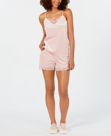 I.N.C. Lace-Trim Velvet Cami Top, Shorts & Pom-Pom Slippers Sleep Separates, Created from Macy's