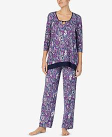Ellen Tracy Printed Keyhole Pajama Top