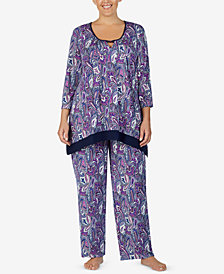 Ellen Tracy Plus Size Printed Keyhole Pajama Top