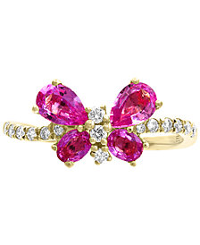 EFFY® Pink Sapphire (1-3/8 ct. t.w.) & Diamond (1/5 ct. t.w.) Butterfly Ring in 14k Gold