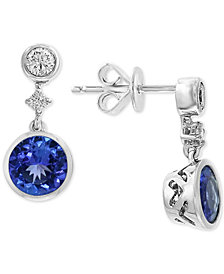 EFFY® Tanzanite (1-1/2 ct. t.w.) & Diamond (1/2 ct.t.w.) Drop Earrings in 14k White Gold