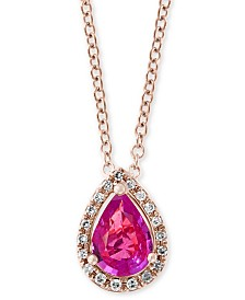 "EFFY® Pink Sapphire (3/4 ct. t.w.) & Diamond Accent 18"" Pendant Necklace in 14k Rose Gold"