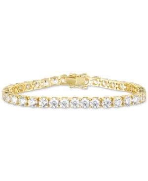 Cubic Zirconia Link Bracelet in 18k Gold-Plated Sterling Silver