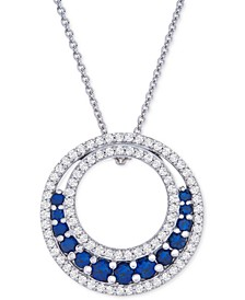 """Lab-Created Sapphire (1-1/5 ct. t.w.) & White Sapphire (3-1/2 ct. t.w.) Circle 18"""" Pendant Necklace in Sterling Silver"""