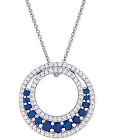 "Lab-Created Sapphire (1-1/5 ct. t.w.) & White Sapphire (3-1/2 ct. t.w.) Circle 18"" Pendant Necklace in Sterling Silver"