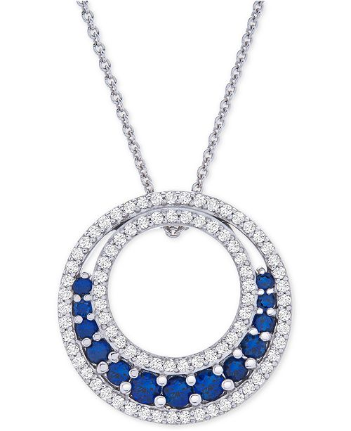 """Macy's Lab-Created Sapphire (1-1/5 ct. t.w.) & White Sapphire (3-1/2 ct. t.w.) Circle 18"""" Pendant Necklace in Sterling Silver"""