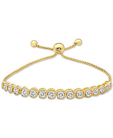 Lab-Created White Sapphire (3-7/8 ct. t.w.) Bolo Bracelet in 14k Gold-Plated Sterling Silver
