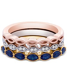 3-Pc. Set Lab-Created Sapphire (1 ct. t.w.) & White Sapphire Accent Stack Rings in Sterling Silver, Gold-Plate & Rose Gold-Plate