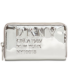 DKNY 10018  Logo Zip Around Metallic Wallet, Created for Macy's