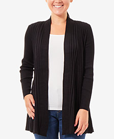 NY Collection Marled Ribbed Open-Front Cardigan