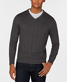 Men's Cotton Textured V-Neck Sweater, Created for Macy's