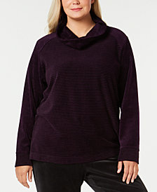 Karen Scott Plus-Size Velour Cowl-Neck Top, Created for Macy's