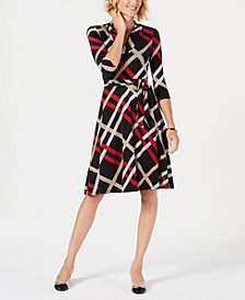 Charter Club Petite Plaid Belted Swing Dress, Created for Macy's