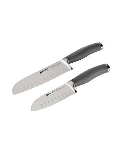 Anolon Suregrip 2 Pc Stainless Steel Japanese Santoku Knife Set