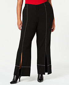 I.N.C. Plus Size Slit-Front Pants, Created for Macy's