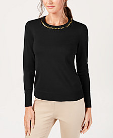JM Collection Petite Chain-Neck Sweater, Created for Macy's