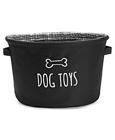 "House of Barker Fabric Toy Storage -Black 12"" Diameter X 8"" High"