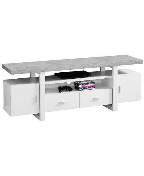 "Monarch Specialties Cement 60""L Tv Stand  in White"