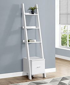 """Stroage Drawer 69""""H Bookcase With Ladder in White"""