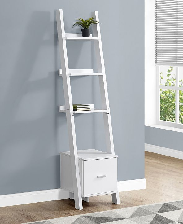 """Monarch Specialties Stroage Drawer 69""""H Bookcase With Ladder in White"""