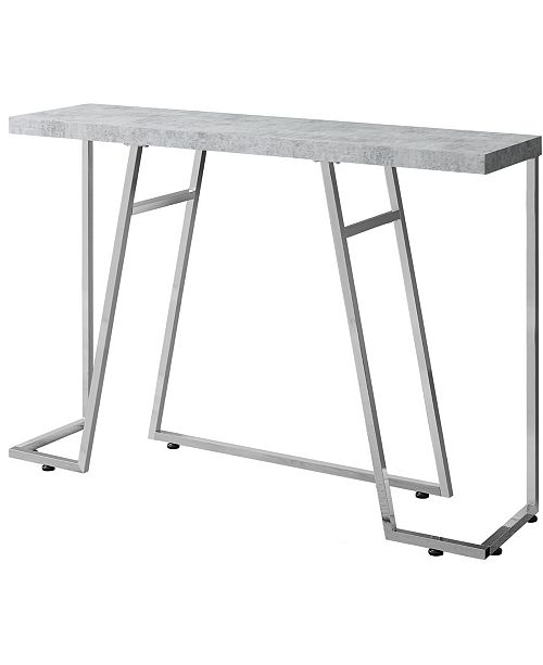 """Monarch Specialties Chrome Metal 48""""L Console Accent Table in Grey Cement"""