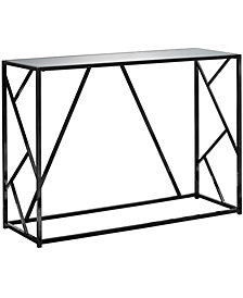 "Monarch Specialties Mirror Top 42""L  Accent Console Table in Black Nickel"