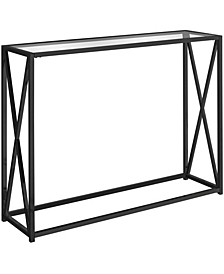 """Tempered Glass 42""""L Console Accent Table in Black"""