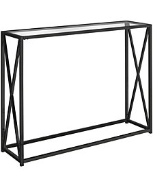 "Monarch Specialties Tempered Glass 42""L Console Accent Table in Black"