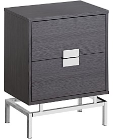 """Monarch Specialties Chrome Metal 25""""H Night Stand  Accent Table in Grey"""