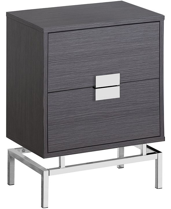 "Monarch Specialties Chrome Metal 25""H Night Stand  Accent Table in Grey"