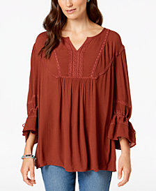 Style & Co Crochet-Trim Peasant Top, Created for Macy's