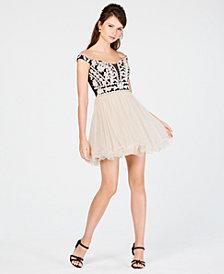 Blondie Nites Juniors' Off-The-Shoulder Embroidered Dress