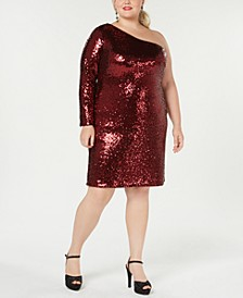 Trendy Plus Size One-Shoulder Sequined Dress