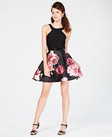 Crystal Doll Juniors' Belted Floral Fit & Flare Dress