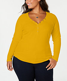 Planet Gold Trendy Plus Size Henley Top