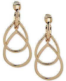 Anne Klein Gold-Tone Double Ring E-Z Comfort Clip-On Drop Earrings