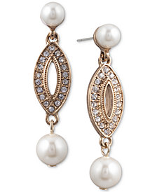 Anne Klein Gold-Tone Pavé & Imitation Pearl Drop Earrings