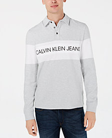 Calvin Klein Jeans Men's Big and Tall Colorblocked Logo-Print Rugby Polo