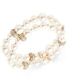 Anne Klein Gold-Tone Pavé Bead & Imitation Pearl Double-Row Stretch Bracelet