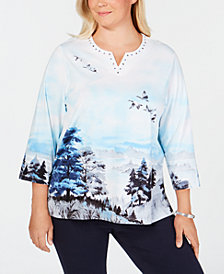 Alfred Dunner Plus Size Classics Embellished Scenic-Print Top