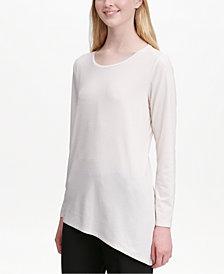 Calvin Klein Textured Asymmetrical-Hem Top